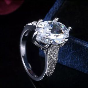 Synthetic Diamond 925 Sterling Silver Ring